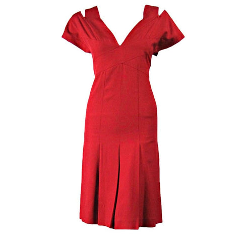 Chanel Boutique Dress 1990's Red Silk Vintage - regenerationvintageclothing