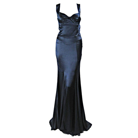 Versace Gown 2000's Midnight Blue Silk with Godet Inserts Vintage - regenerationvintageclothing