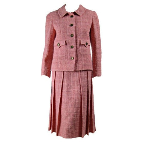 Vintage Clothing: 1960's Chanel Couture Numbered Pink Wool Boucle Skirt Suit
