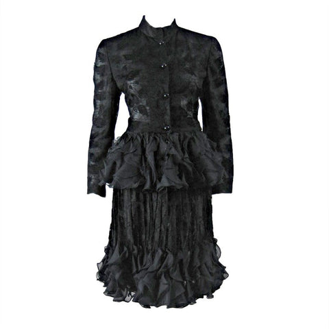 Valentino Ensemble 1980's Lace With Ruffled Peplum Vintage - regenerationvintageclothing