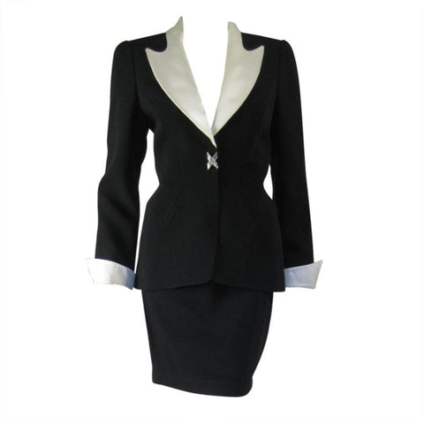 Thierry Mugler Skirt Suit 1990's Black Faille with Satin Details Vintage - regenerationvintageclothing