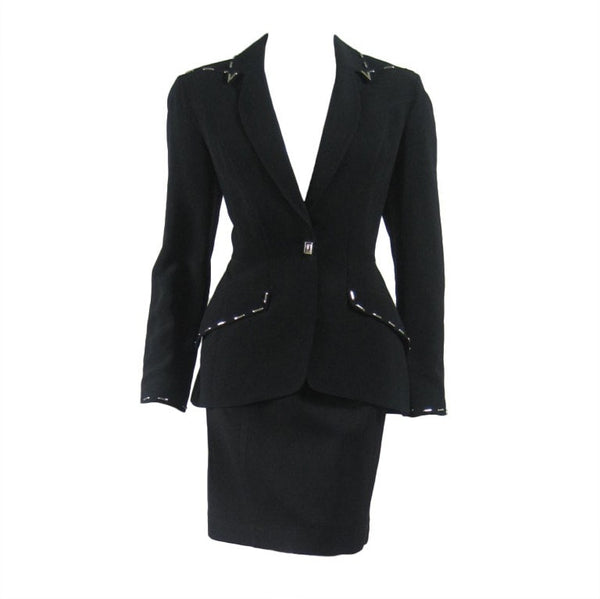 Vintage Clothing: 1990's Thierry Mugler Skirt Suit with Metal Studded Details
