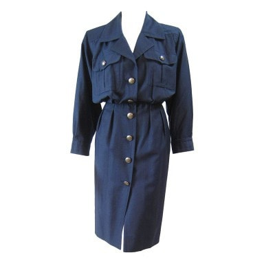 Yves Saint-Laurent Dress 1980's Navy Gabardine Vintage - regenerationvintageclothing