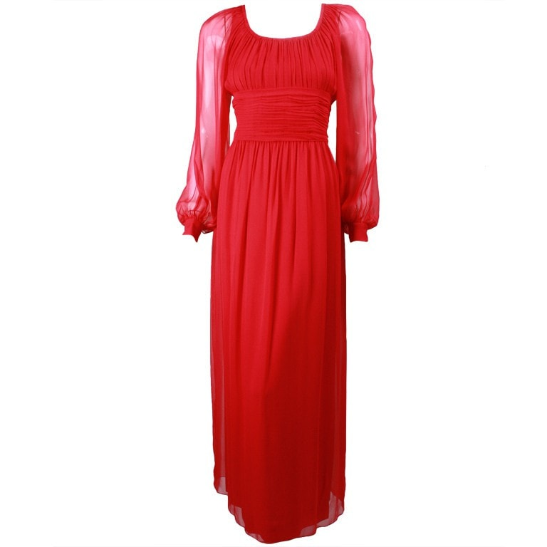 Vintage Clothing: 1970's Jean Louis Red Chiffon Gown