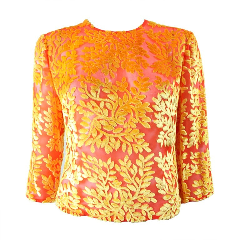 Vintage Clothing: 1990's Versace Brightly-Colored Cut Velvet Blouse