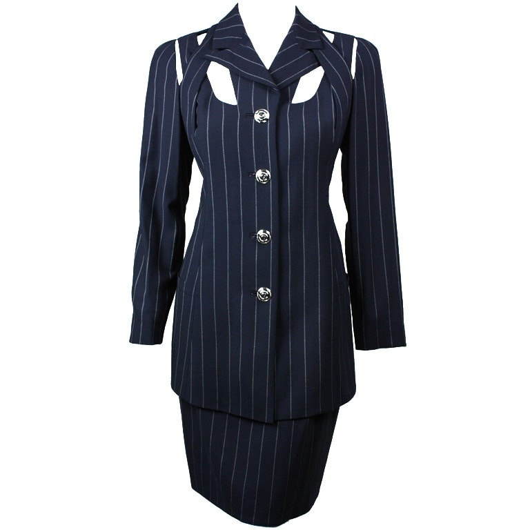 Versace Suit 1990's Pinstriped with Cut-Out Detailing Vintage - regenerationvintageclothing