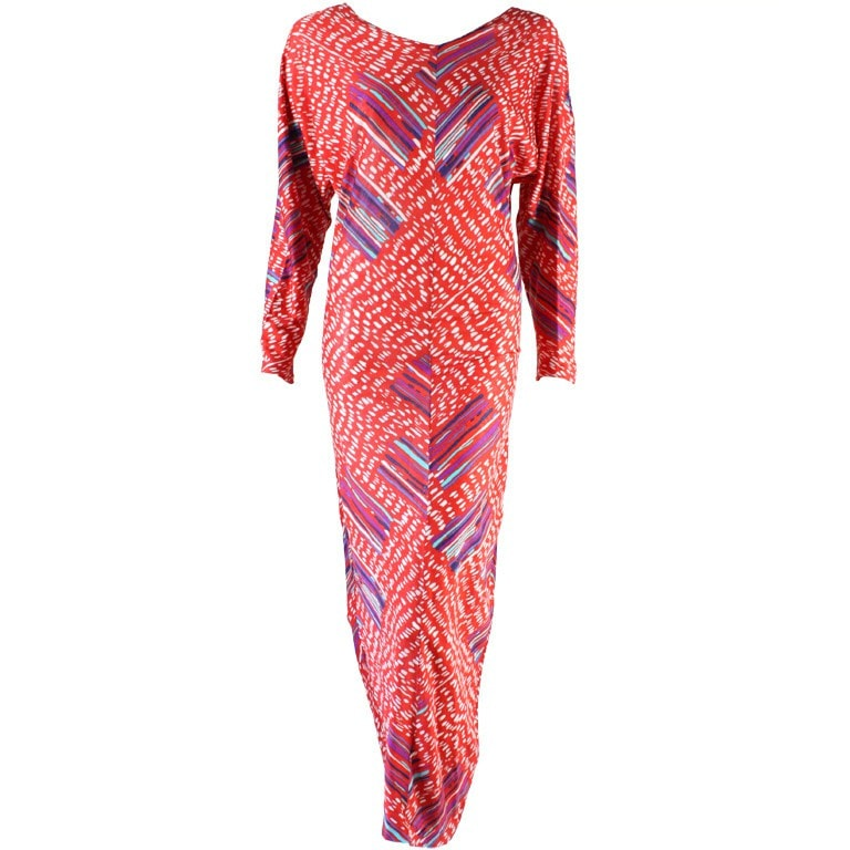 Vintage Dresses: 1980's Missoni Printed Cotton Jersey Gown