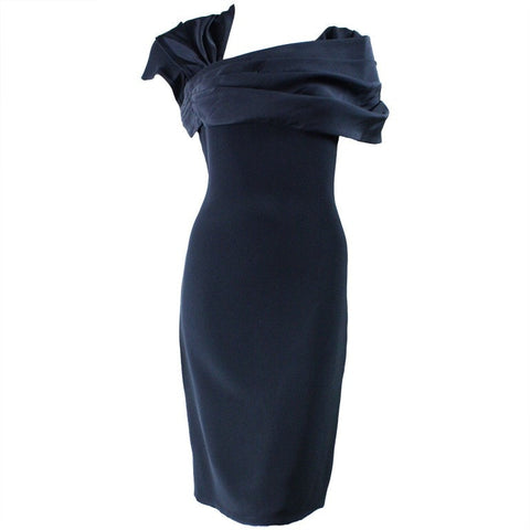 Bill Blass Cocktail Dress with Asymmetrical Neckline Vintage - regenerationvintageclothing