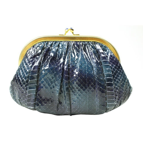 Judith Leiber Navy Blue Snakeskin Evening Bag Vintage - regenerationvintageclothing