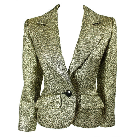 Yves Saint-Laurent Jacket 1990's Gold Brocade Vintage - regenerationvintageclothing