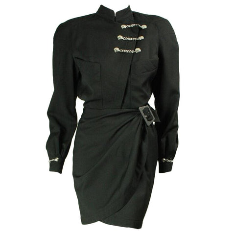 Thierry Mugler Dress Black Gabardine with Chain Hardware Vintage - regenerationvintageclothing
