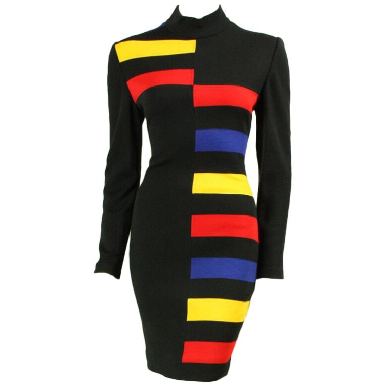 Vintage Dresses - 1990's Patrick Kelly Color-Blocked Knit Dress