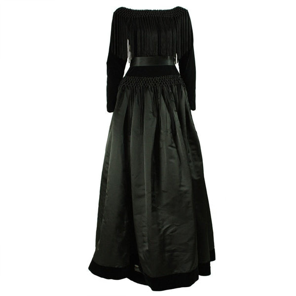 1980's Gown Black Silk And Velvet Fringed Vintage - regenerationvintageclothing