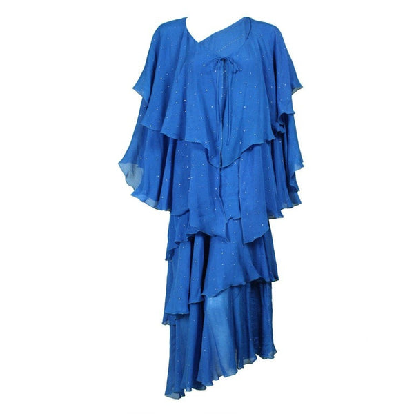 1980's Dress Blue Silk Chiffon Tiered Vintage - regenerationvintageclothing