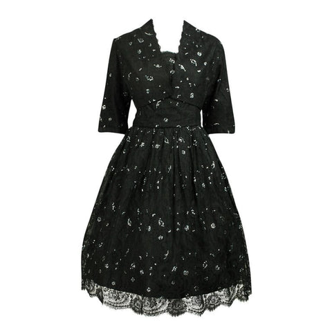 1950's Dress Custom-Made Lace From France Vintage - regenerationvintageclothing