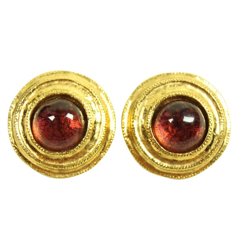 Chanel Earrings 1980's Gold-Toned Gripoix Vintage - regenerationvintageclothing