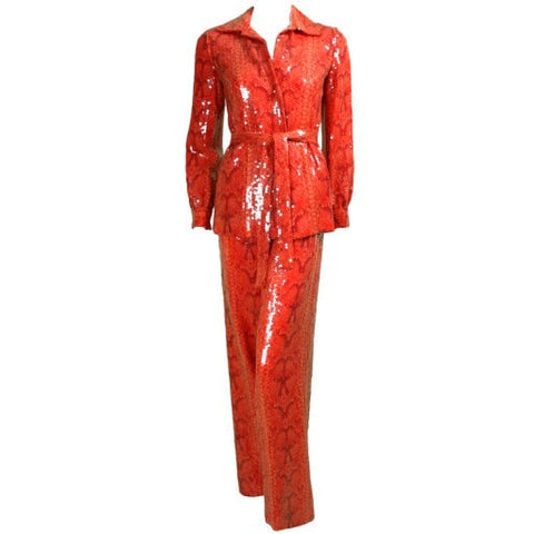 Bill Blass Ensemble 1970's -Printed Sequined Vintage - regenerationvintageclothing