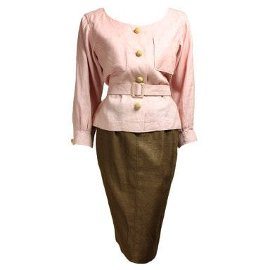 Yves Saint-Laurent Ensemble 1980's Linen Vintage - regenerationvintageclothing