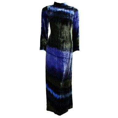 Vintage Dresses: 1970's Hanae Mori Tie-Dyed Crushed Velvet Gown