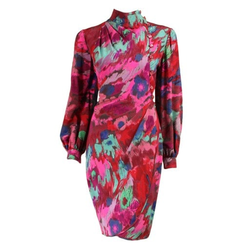 Ungaro Wrap Dress 1980's Printed Vintage - regenerationvintageclothing