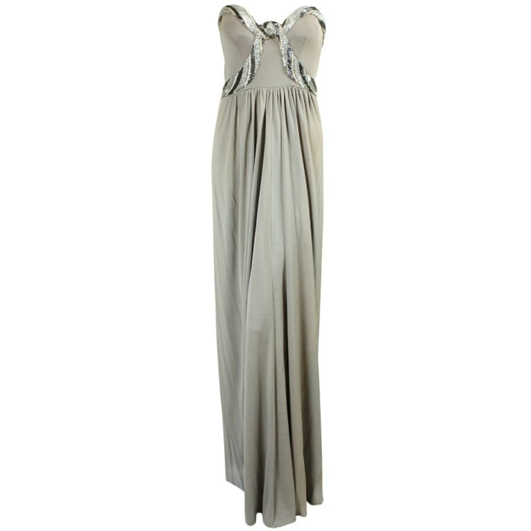 Vintage Dresses: 1970's Bob Mackie Gray Jersey Gown