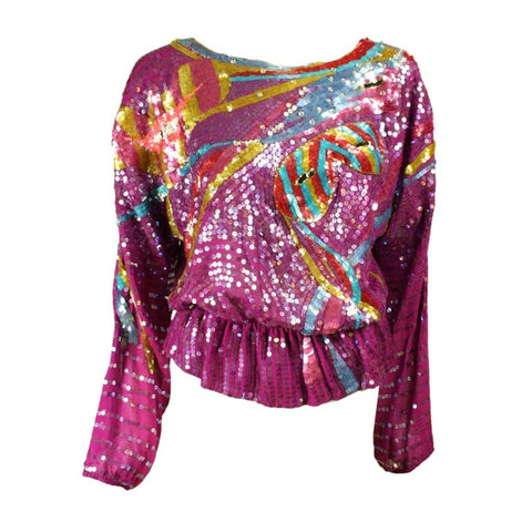 1990's Blouse Neil Bieff Sequined Vintage - regenerationvintageclothing