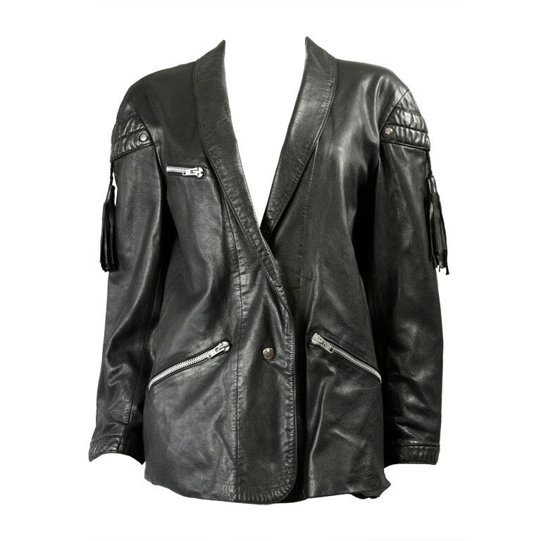 Vintage Clothing: 1980's Claude Montana Black Leather Jacket