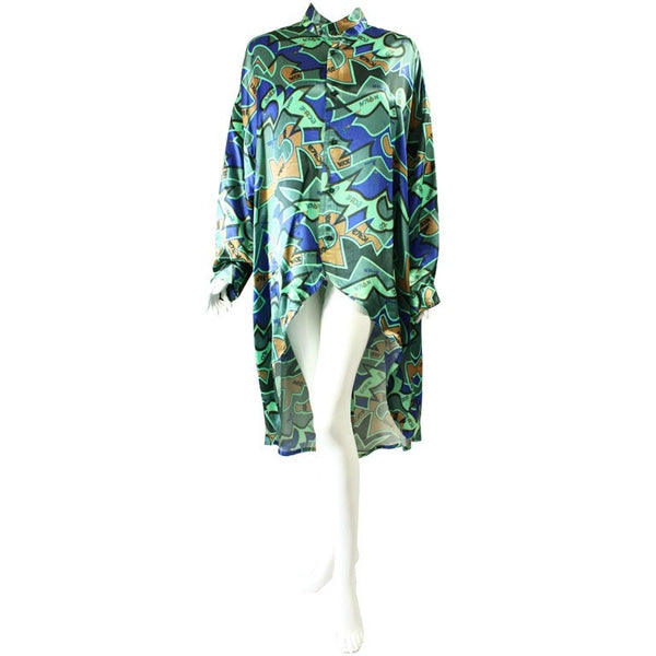 Kansai Yamamoto Blouse 1980's Printed with Uneven Hem Vintage - regenerationvintageclothing
