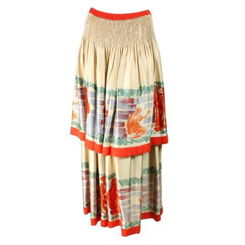 Chloe Skirt Tiered With Figural Print Vintage - regenerationvintageclothing