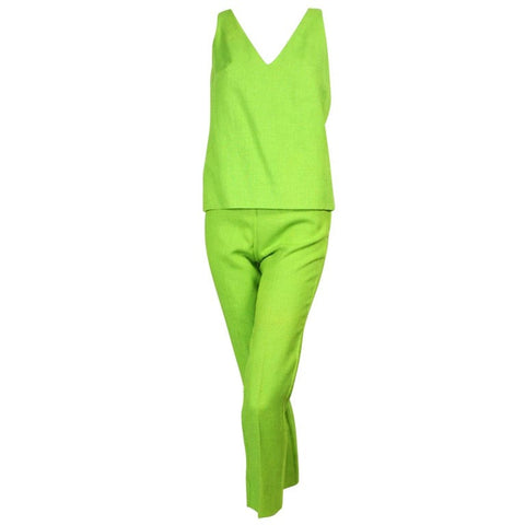 Vintage Clothing: 1960's Rudi Gernreich Lime Green Linen Ensemble
