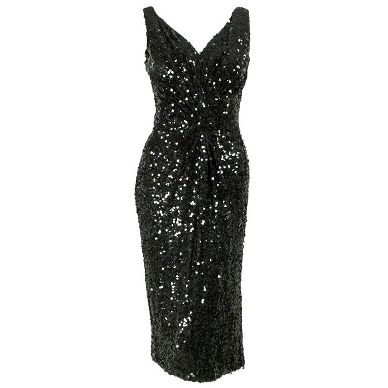 Vintage 1950u0027s Ceil Chapman Sequined Cocktail Dress