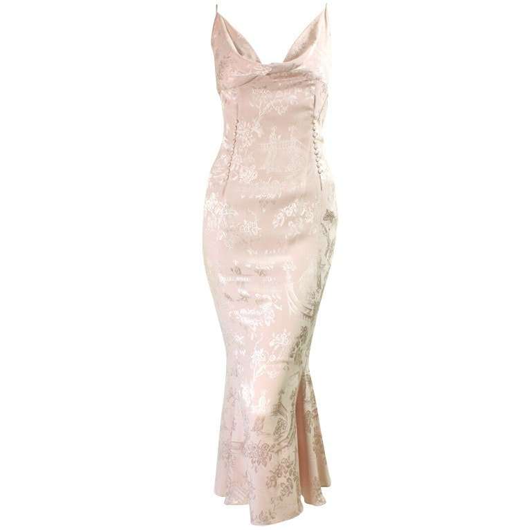 Vintage Dresses - 1990's John Galliano Pink Silk Cocktail Dress with Cowl Neckline