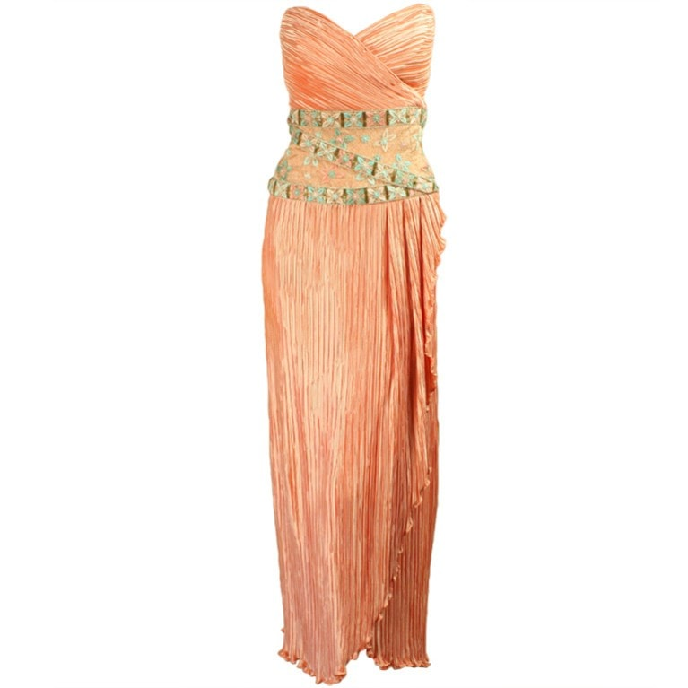 Vintage 1980's Mary Mcfadden Couture Strapless Gown