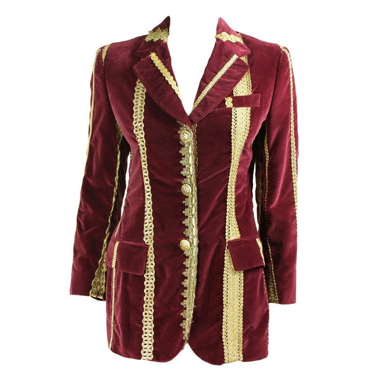 Dolce & Gabbana Jacket Velvet With Gold Trim Vintage - regenerationvintageclothing