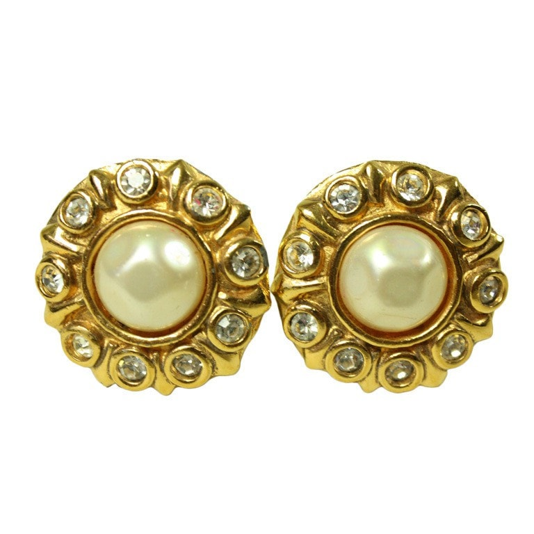Vintage Jewelry: 1980's Chanel Rhinestone & Pearl Earrings