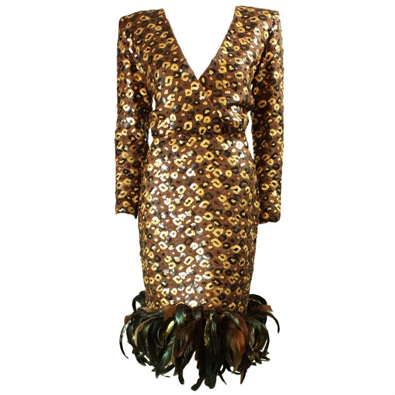 Vintage Dresses - 1980's Givenchy Sequined And Feathered Dress