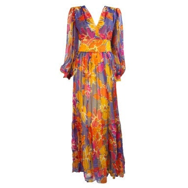 Givenchy Gown 1980's Silk Chiffon Floral Vintage - regenerationvintageclothing
