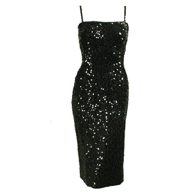 Vintage 1950's Ceil Chapman Sequined Spaghetti Strap Cocktail Dress