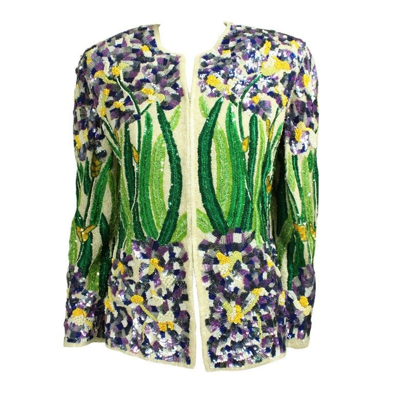 Naeem Khan For Riazee Jacket 1980's Sequined & Embroidered Vintage - regenerationvintageclothing