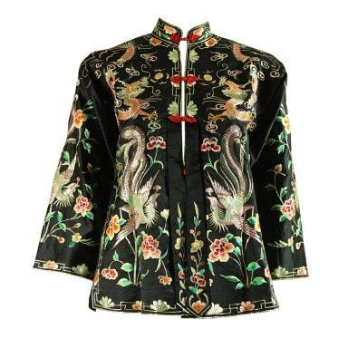 1940's Jacket Chinese Embroidered Satin Vintage - regenerationvintageclothing