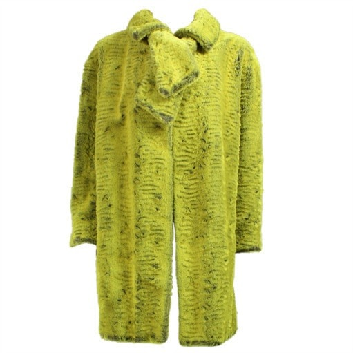 Vintage 1990's Christian Lacroix Coat Lime Green Faux Fur Coat