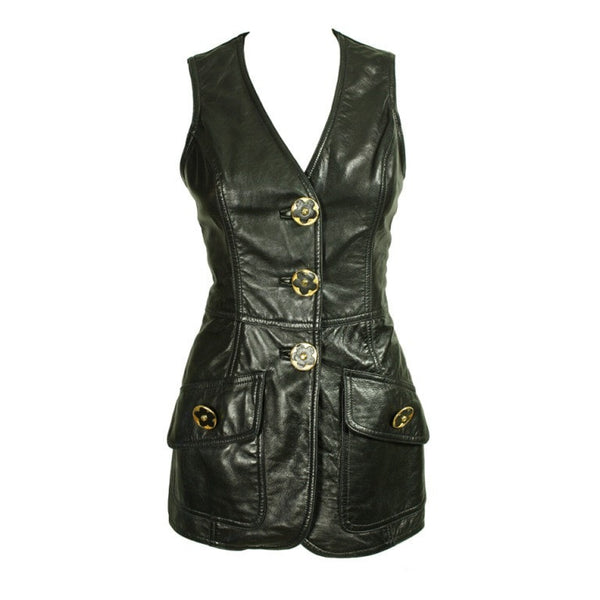 Gemma Kahng Vest 1990's Leather Vintage - regenerationvintageclothing