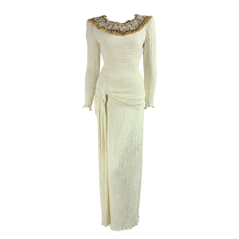 Vintage 1980's Mary Mcfadden Couture Pleated Ivory Gown