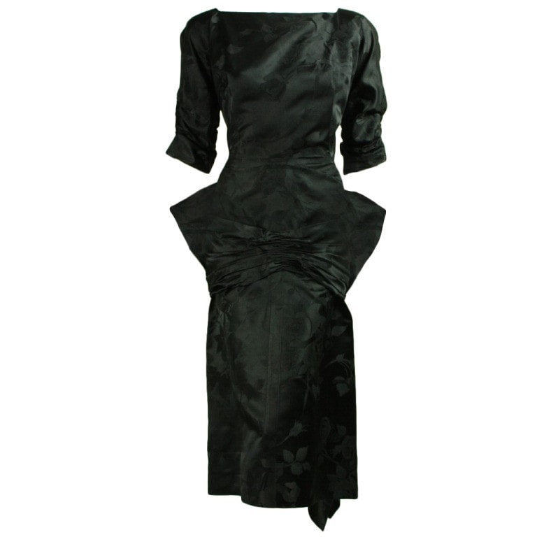 Vintage Dresses - 1950's Irene Black Jacquard Dress
