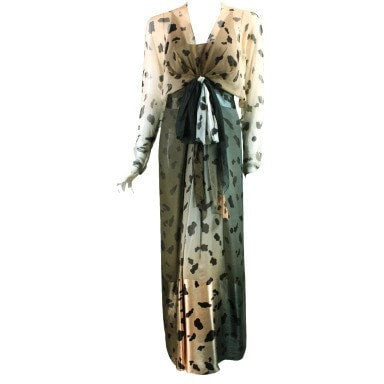 Vintage Dresses: 1980's Bill Blass Animal Print Ombre Gown