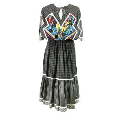 Vintage 1980's Koos Van Den Akker Cotton Patchwork Dress