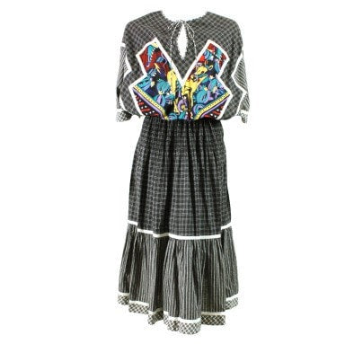 Koos Van Den Akker Dress 1980's Cotton Patchwork Vintage - regenerationvintageclothing