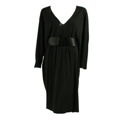 Alexander McQueen Dress Draped Black Jersey Vintage - regenerationvintageclothing