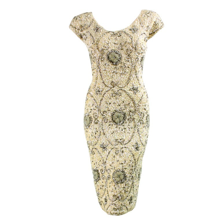 Vintage Clothing: 1950's Gene Shelly Cream-Colored Beaded Dress