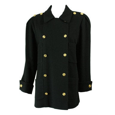 Vintage 1980's Chanel Military-Style Double-Breasted Wool Pea Coat